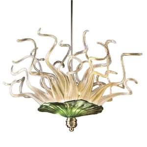 Factory direct blown glass chandelier lighting fixture green and white art glass pendant lights for bedroom home decoration