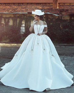 New Arrival Plus Size Ball Gown Crystal Wedding Dresses Off Shoulder Backless with Court Train Satin Wedding Dress Bridal Gowns Vestdiso