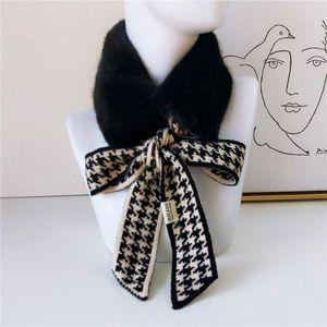 Sciarpe 2021 Autunno Winter Houndstooth Fashion Crochet Sciarpa lavorata a maglia Foulard Femme Faux Fur Collo Collo Scaldino per le donne1