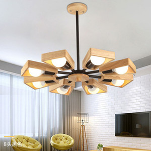 Nordic Wooden Pendant Lamp Rotatable Wood Lampshade AC90V-260V E27 LED Indoor Ceiling Hanging Light for Living Room Bedroom