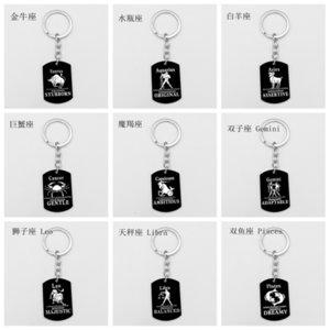 Mode Accessoire Titan Black Gold 12 Konstellationen Schlüsselanhänger Edelstahlmarke Neue