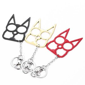 self defense New Cat keychain Ring Buckle Sefl-Defense Weapon Toy Model Outdoor Ring Four finger Tool Christmas gift Key Rings