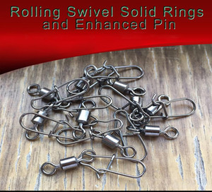 50pcs lot Steel Interlock Snap Fishing Lure Tackle Ball Bearing Swivel Rolling Solid Rings Barbed Fishing Hook Connector jllYyY jhhome
