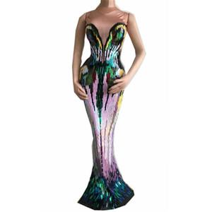 Colorful Appliques Long Dress Women Evening Party Wear Luxurious Stretch Dress Prom Birthday Celebrate Female Singer Stage Dress T200707