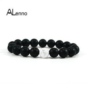 Alennico 10mm Natural Scrub Nero Onyx Modello Bianco Bianco Pietra Strand Charms Bracciali per le donne Uomini DIY Bijou Gioielli Regali