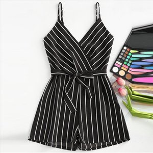 2019 women romper Sleeveless Strappy Short Playsuits Striped Cami Belt Romper Jumpsuit combi pantalon femme Dropshipping BY20
