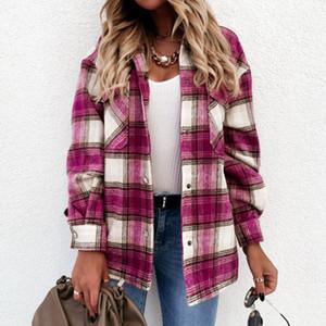 Muyogrt chemise à carreaux vestes vestes femmes mode tour routine collier chèque veste filles chic manteau streetwear femme surdimensionnée femme veste