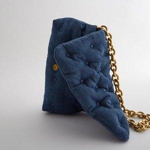 Ретро синие джинсовые стеганые женские сумки на ремне дизайнерские толстые цепи сумки роскошный посыльный сумка леди большие кошельки женский мешок