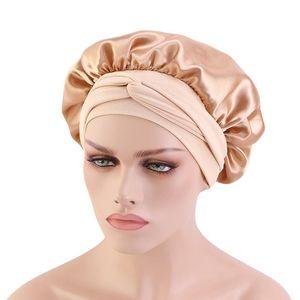Satin Bonnet With Ribbon Wide-Brimmed Stretch Headband Bonnets Silky Night Cap Shower Cap Beauty Salon Caps TB-208