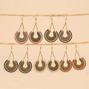2020 new earrings fashion retro multicolor alloy earrings light and trendy hand-threaded braided tassel bohemian earrings