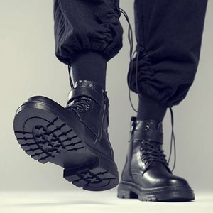 Inverno Sapatos de Algodão de Algodão Martin Estilo Britânico Estilo High Top Snow Neve Quente Trabalho Médio Roupas Botas