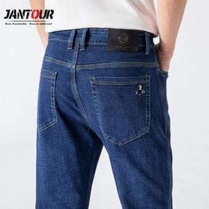 Jantour Blue Classic Style Men's Business Jeans 2020 New Fashion Slim Straight Stretch Denim Trousers Male Brand Pants Pantalon