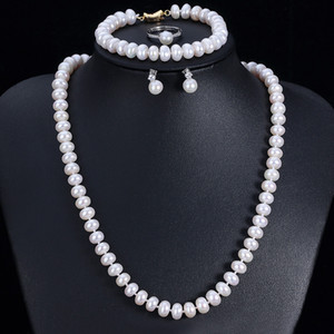 Good Quality Real Natural Freshwater Pearl Jewelry Sets For Women 4 Pieces Gold Color White Pink Purple Wedding Necklace Sets