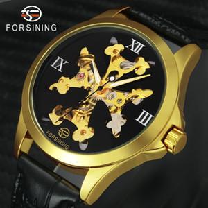 Top Women Watches FORSINING 2020 Golden Auto Mechanical Wrist Watch Roman Numerals Skeleton Dial Ladies Wristwatch