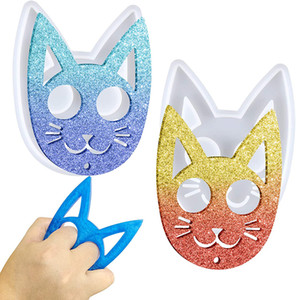 Self-defense Cat shape Silicone Mould Crafts Polymer Clay Jewelry Making Tool Epoxy Resin Mold DIY Super Glossy