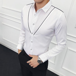 Fashion designer V-shaped pleated shirt Slim long-sleeved petticoat men's wedding party social shirt evening dress tops M-3XL