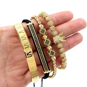 3pcs set+Roman Numeral Bracelets Steel Couple Bangle Crown Charm for Love Vintage Bracelets for Women Men Statement Jewelry Christmas Gift