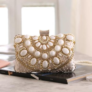 Designer-New Fashion Women's Handbag Pearl Satchels Shape hard Evening Clutch Bag Purse Beaded Wedding bag Female Shoulder