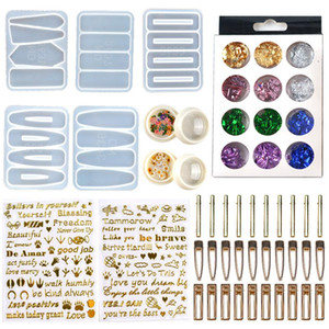DIY Hair Pin Casting Mold Set Kit Includes 30 Pieces Hair Clip 5 Silicone Resin Molds Jewelry Molds Epoxy Resin Hairpin Molds HWA3487