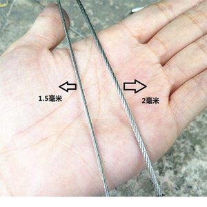 2.m Wire Diameter Stainless Steel Keychain Tag Rope Cable Loop Screw Lock Gadget Ring Key Keyring Circle Camp Rope jllDLB