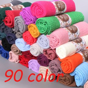 Newest Women Scarf Crinkle Bubble Hijab Cotton Shawls Fashion Plain Wrinkle Wrap Muslim Headband Drape Popular 87Color 10pcs Lot C1121