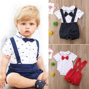 Emmababy Newborn Kid Baby Boy Boy Outfit Ropa Bow Momber Jumpsuit + Pantalones Gentleman 2pcs Set Kids Ropa Y200803