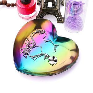 Titular de la bandeja En forma de corazón Creativo Nuevo estilo Pulsera de admisión Disco de acero inoxidable Stee Color Metal Almacenamiento Fruit Placa Ornamento 5 2JD P1