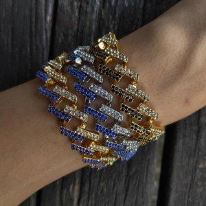 high end Mens Hip Hop Gold Bracelets Black Blue Diamond Bracelets Jewelry Fashion Iced Out Miami Cuban Link Chain Bracelet 8inch