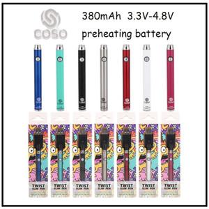New Coso Bottom Twist Variable Voltaje Variable 380mAh Prefaciente Batería 3.3V-3.8V Kit de cargador con 20pcs Caja de visualización Cartuchos de vape de aceite grueso