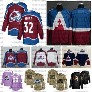 2021 Customize # 32 Hunter Misca Colorado Avalanche трикотажные изделия Золотое издание Camo ветеранов день борется с раком на заказ сшитые хоккейные изделия