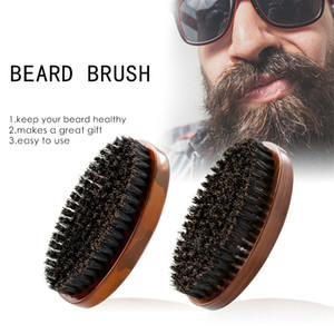 Retro Beard Brush Premium Camouflage Wooden Brush Men Boar Bristle Hair Brushes Comb Styling Tools OEM Custom LOGO DBC BH4474