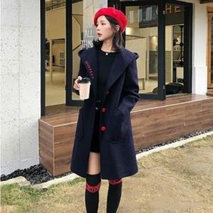 JUNSRM automne et hiver manteau à capuchon mi-longueur Woollen femmes Vêtements d'hiver de sont épais et mince