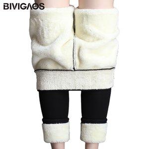 Bivigaos Kadınlar Kış Ekstra Kalın Kaşmir Tayt Pantolon Kadife Kalınlaşmak Yüksek Bel Sıcak Tayt Moda Etiket Siyah Tayt Q1119