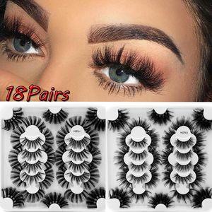 5 18 20Pairs Fluffy Lashes Mink Lashes Long Thick Volume Natural False Eyelashes Little Dramatic Makeup Extension Mink Eyelashes