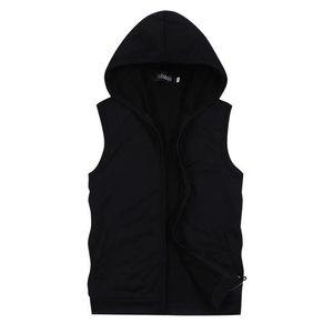 Оптом мужские толстовки без рукавов толстовки летний стиль повседневный капюшон кардиган спортивная куртка мужская пальто 5 цветов большой размер 3xL 4xL