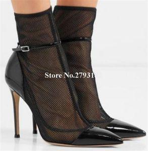 Mulheres Elegante Pontilhada Toe Malha Salto Fino Botas Curtas Cut-Out Lace Ankle Strap High Heel Ankle Botas do Ankle Casamento