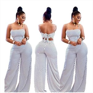 Summer Womens Fashion Casual White Spot High Waist Sling Dot Loose Rompers Jumpsuit Print Wrapped Chest Straps Beach Jumpsuit