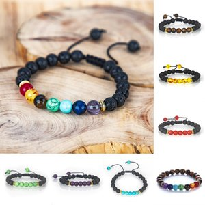 8mm Volcanic Stone Yoga Energy Bracelet 7 Chakra Braided Bangle Essential Oil Diffuser Bracelets for Women Men Charm Jewelry Kimter-B298F