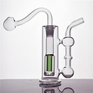 DHL-freie Glas Wasserleitung Mini-Glasbong-Recycler-Öl-Rigraucher-Zubehör mit 10mm männlichen Ölbrenner-Rohr