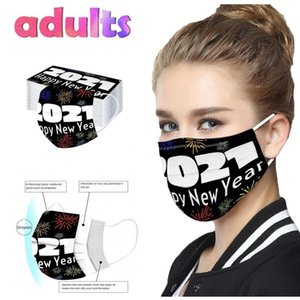 Adult 2021 Christmas Happy New Years Disposable Face Masks 3 Layer Earring Face Dustproof Mouth Mask Mascarillas NWA2493