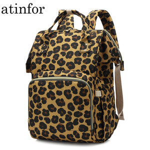 atinfor Leopard Printing Mummy Backpack Hanging Trolley Diaper Baby Care Backpacks Bag Maternity Mother Nappy Bagpack A1113