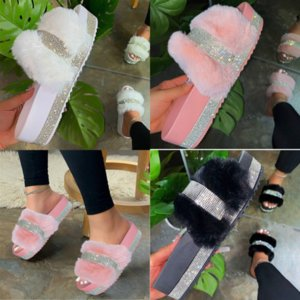 KM69q SAGACE Slippers Slippers Rhinestone Wedge Casual Zapatillas fashion slipper Fashion designer Shoes high quality Comfort Flip Flops