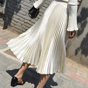 Spring Mujeres Chic Faldas Larga Midi A-Line Falda Plisada Mujer Plus Tamaño Falda Alta Cintura Midi Faldas Muyer Verano 2021