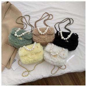 Designer-Women Handbag 2020 New Winter Designer Fashion Lamb Hair Small Square Bag Pearl Fur Chain Shoulder Messenger Bag