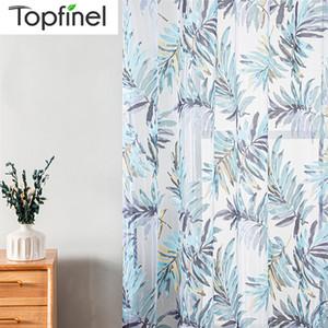 Wholesale Blue Tropical Листья Печатные Шторы Для Гостиной Окна Занавес Спальня Кухонные Тюль Занавески Разделитель комнаты