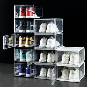 1 / 2pcs Boîtes de rangement de chaussures transparentes pliables de chaussures épaissies Bottes anti-poussière Bacs superposés Combinaison Cabinet Home Organisation Z1123