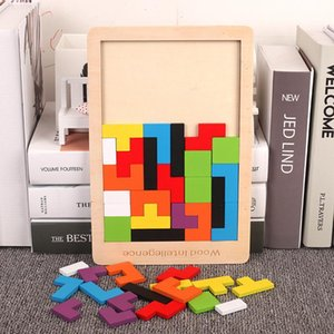 2020 New Creative Pattern 3d Wooden Puzzle Tangram Math Toys Pre-school Kids Intellectual Education Baby Toy