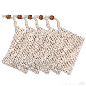 Bags Cotton Linen Soaps Saver Handmade Soap Bubble Net Bag Mesh Pouch Exfoliating Natural Plant Fibers Environmentally Friendly DHD73