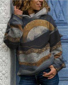 2020 Autumn New Landschaftsstil Frauen allmählich lockere Kapuzenpullover mit Kapuze