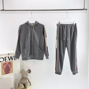 2020 primavera e outono clássico italiano Webbing listras homens e mulheres zipper cardigan camisola do hoodie calças pé feixe sportswear ocasional